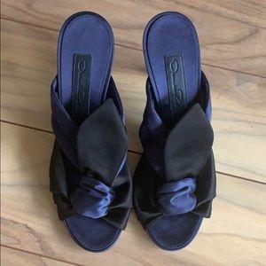 Oscar De La Renta satin bow heeled sandals